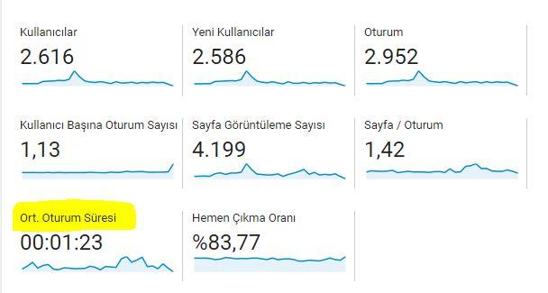 Google Analytics Kullanımı - Ortalama Oturum Süresi